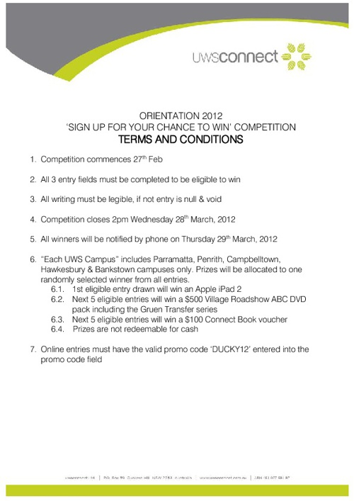 Orientation terms and conditions