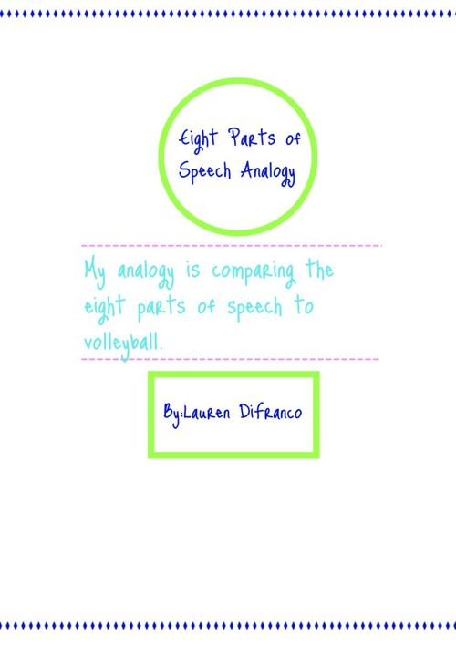 Eight Parts of Speech Analogy