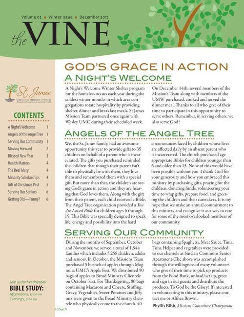 theVine Newsletter of SJUMC–2012 Winter