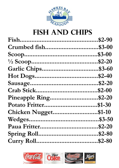 Hawkes Bay Seafoods Napier Takeaway Menu