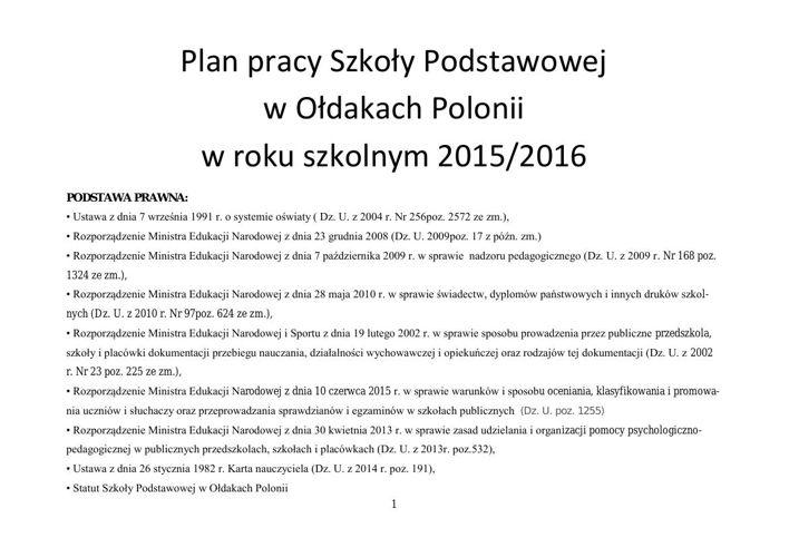 Plan pracy Szkoły Podstawowej w Ołdakach Polonii w roku szkolnym