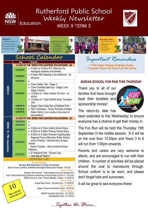 Rutherford Public School Term 3 Week 9 2016 Newsletter