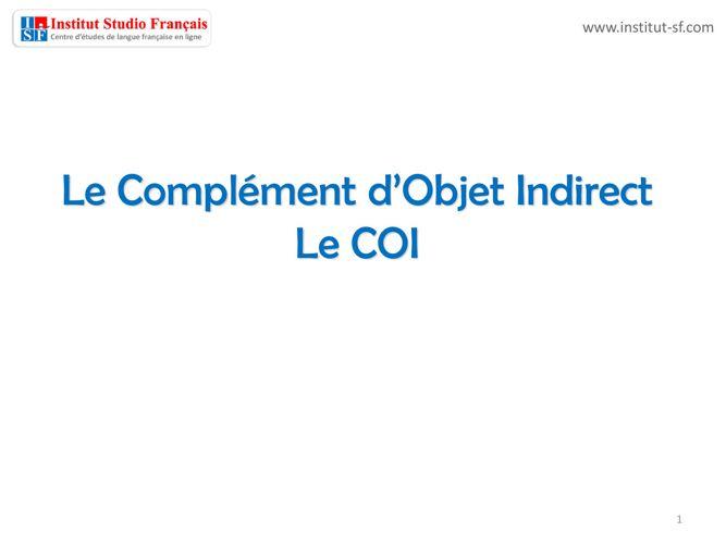 COI - Pronoms COI - Théorie et activités