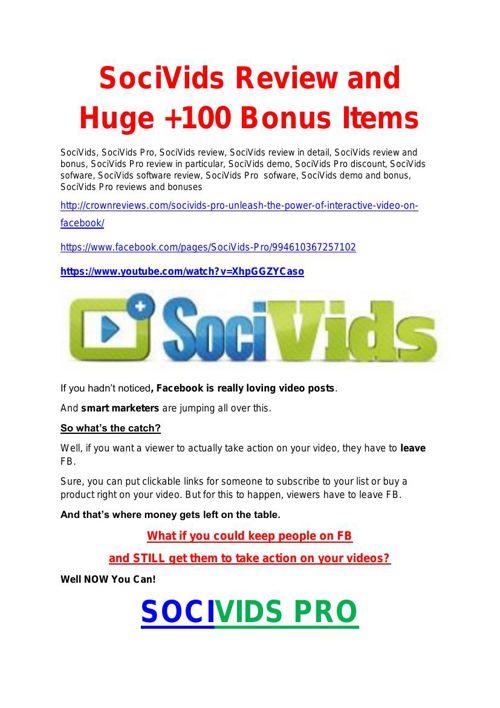 SociVids Pro  review and (FREE) $12,700 bonus-SociVids Pro Disco