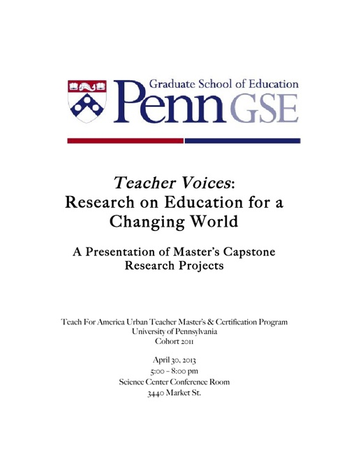 Teacher Voices:  Research on Education for a Changing World