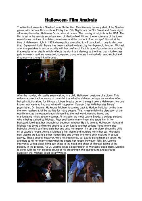 halloween film analysis 1
