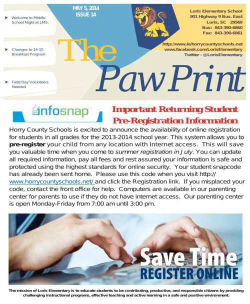 5-5-14 Issue XIV The Paw Print
