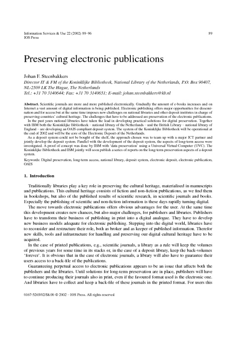 Preserving Electronic Information