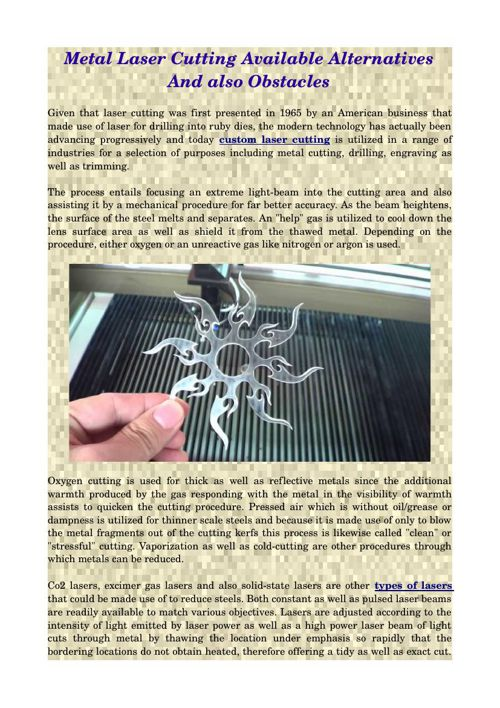 Metal Laser Cutting Available Alternatives And also Obstacles