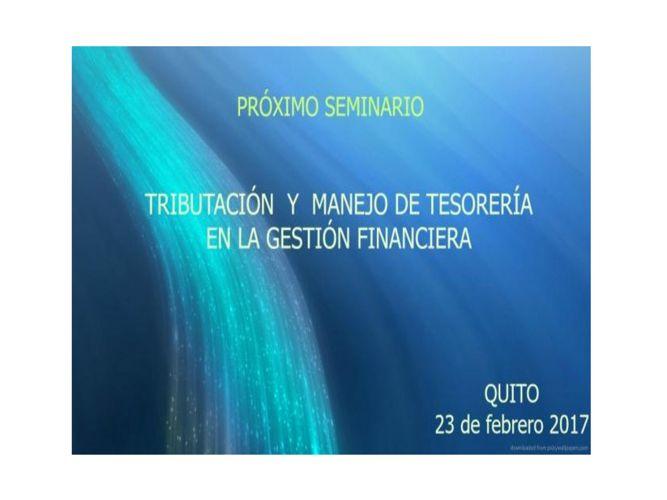 TRIBUTACIÓN  Y  MANEJO DE TESORERÍA