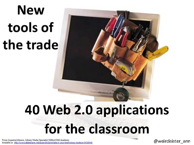 40 Web2.0 tools for the classroom, categorised by their purpose.