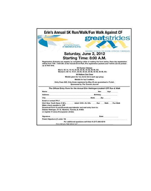 Erin's Annual 5K Run/Walk/Fun Walk Against CF Registration Form