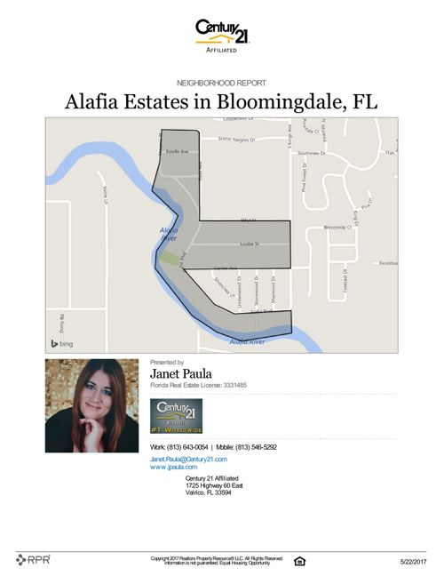 Neighborhood Report for Alafia Estates