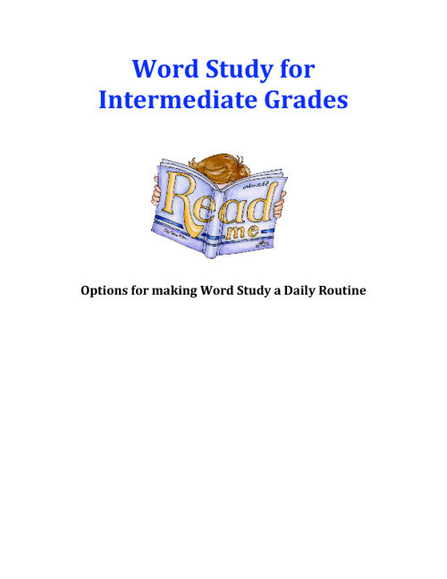 Copy of Word Study for the Intermediate Classroom