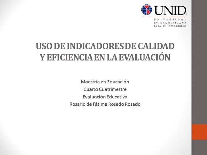 Uso de indicadores en la evaluación