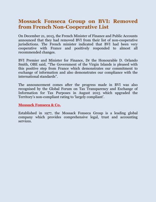 Mossack Fonseca Group on BVI: Removed from French Non-Cooperativ