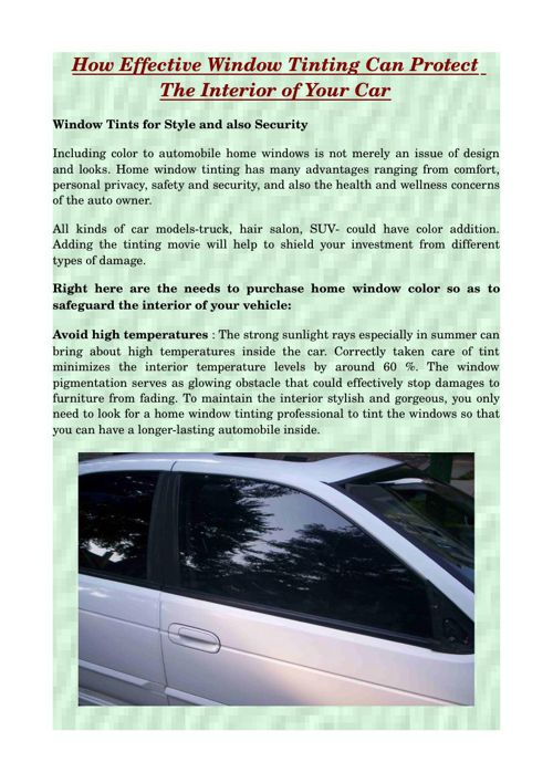 How Effective Window Tinting Can Protect The Interior of Your Ca