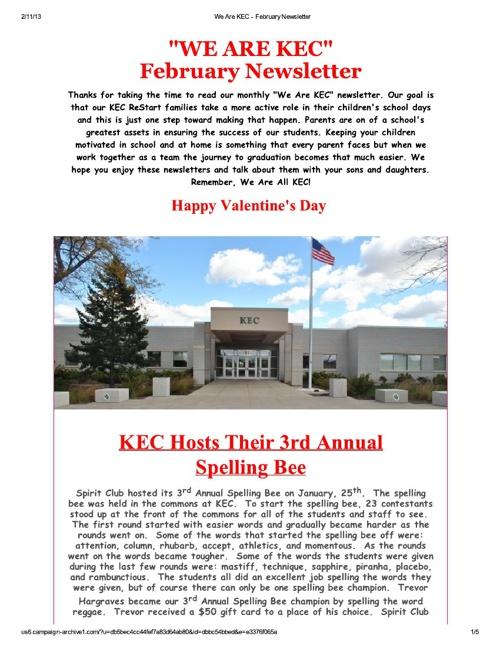 We Are KEC - February Newsletter