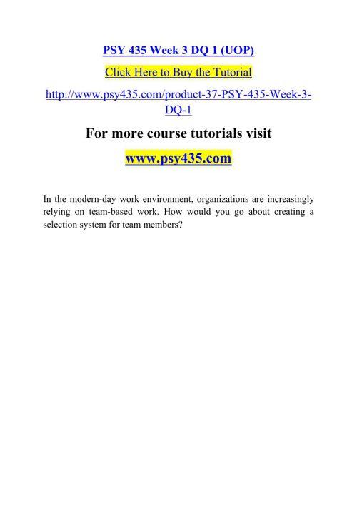 PSY 435 Week 3 DQ 1 (UOP)