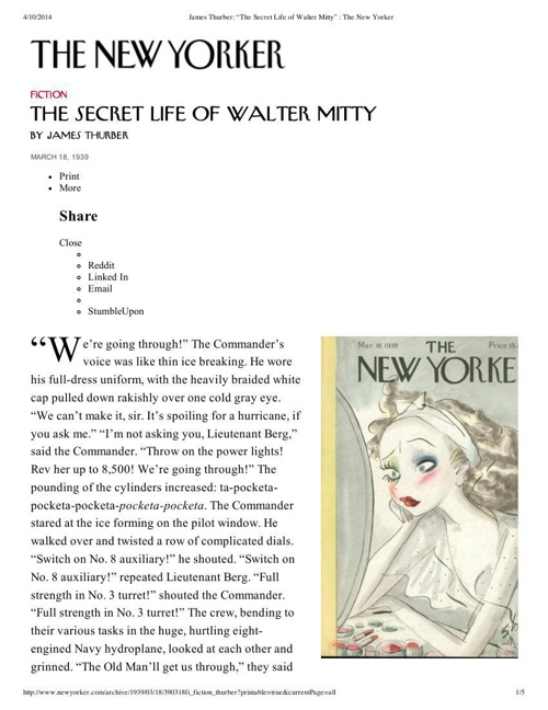 "James Thurber_ ""The Secret Life of Walter Mitty"" _ The New Yorke"
