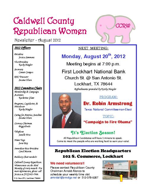Caldwell County Republican Women August Newsletter