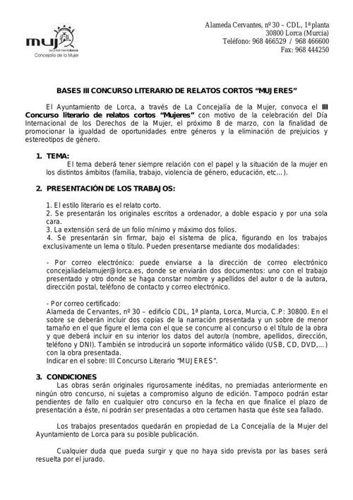 BASES CONCURSO LITERARIO MUJERES 2014