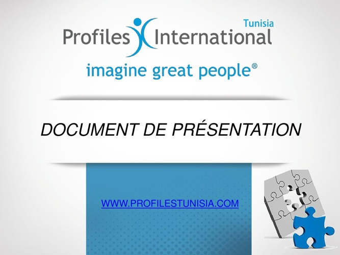Plaquette de présentation de Profiles International Tunisie