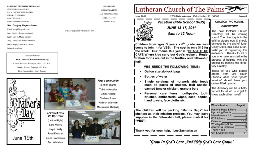 Lutheran Church of the Palms Newsletter