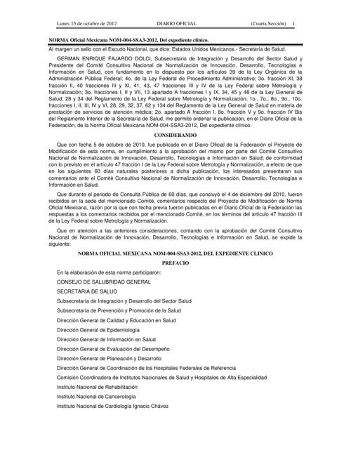 NOM-004-SSA3-2012, Del expediente clínico