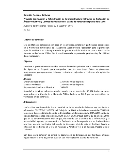 Rehabilitación de la Infraestructura Hidráulica Veracruz