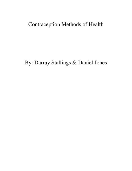 Contraception Methods of Health
