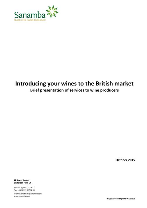 Brief presentation of services to wine producers Oct 15