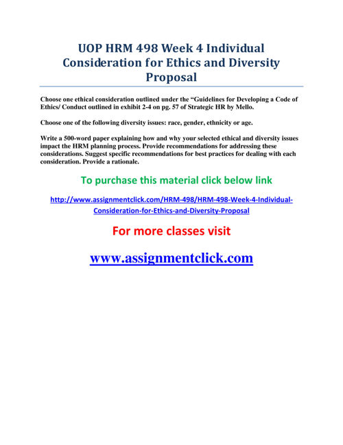 UOP HRM 498 Week 4 Individual Consideration for Ethics and Diver
