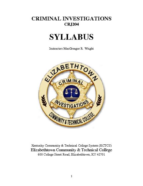 Criminal Investigations (CRJ204) SYLLABUS
