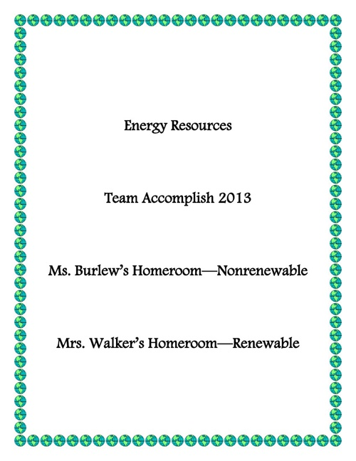 Ms. Burlew's Nonrenewable Energy Resources
