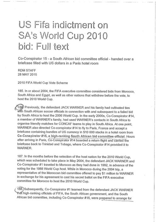 US FIFA indictment as it relates to SA