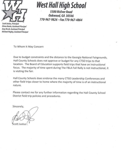 Fall Rally Letter from WHHS Principal