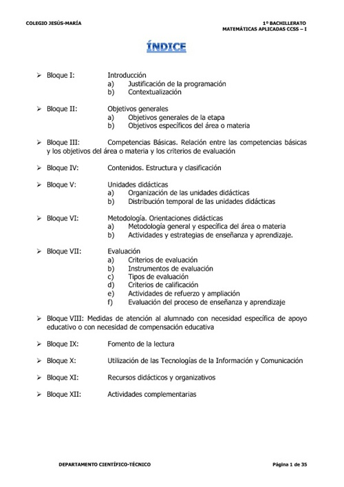 Matem. CCSS - I