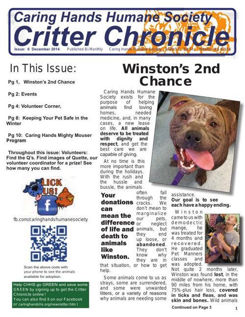 Critter Chronicle Issue 6 December 2014