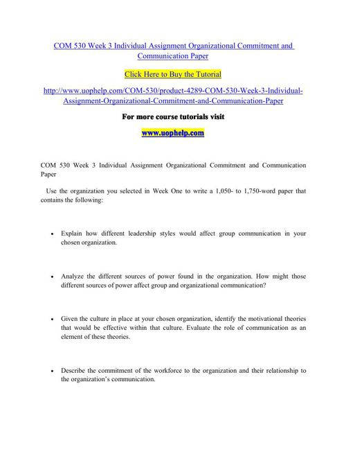 COM 530 Week 3 Individual Assignment Organizational Commitment a