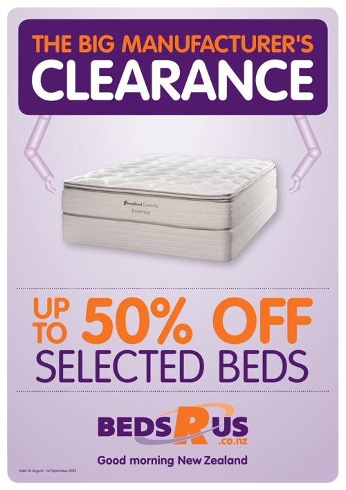 Beds R Us The Big Manufacturer's Clearance August 2013