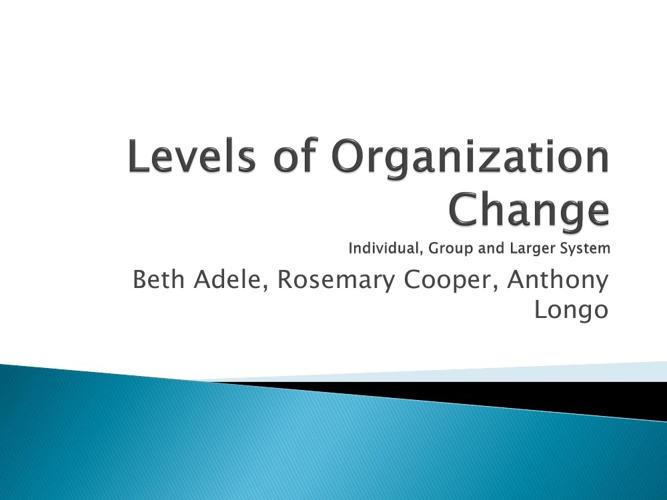 Levels of Organization Change