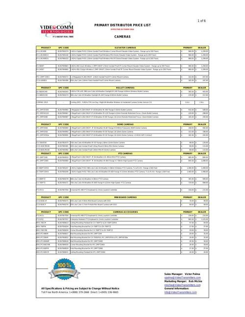 PRIMARY DISTRIBUTOR PRICE LIST - OCTOBER 2014