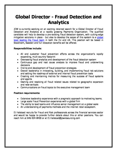 Global Director - Fraud Detection and Analytics
