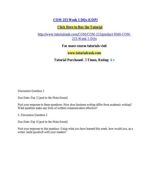 COM 215 learning consultant / tutorialrank.com