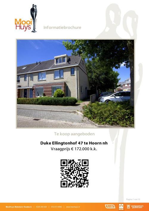 TE KOOP - Duke Ellingtonhof 47 Hoorn