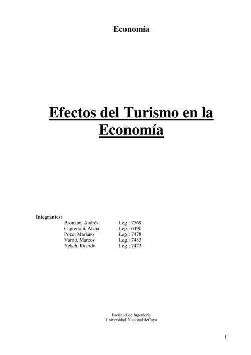 Efectos del turismo en la ec