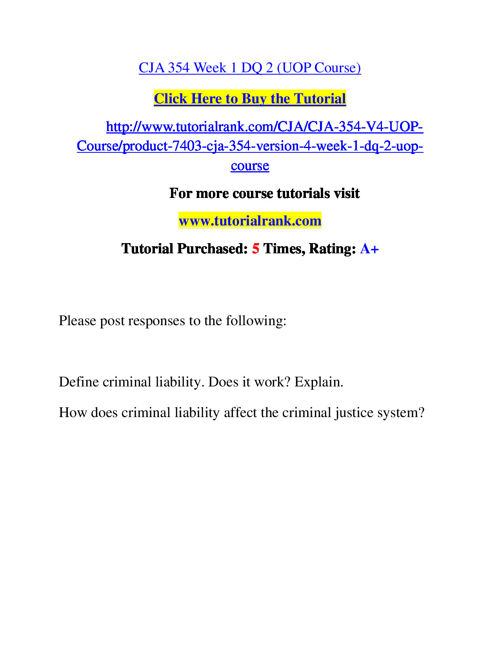 CJA 354 Course Success Begins / tutorialrank.com