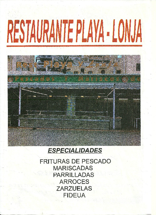 la carta restaurante playa