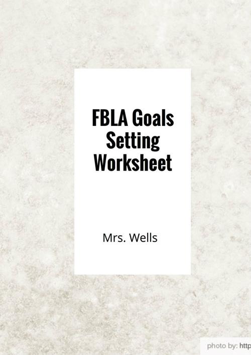 Goals Setting Worksheet